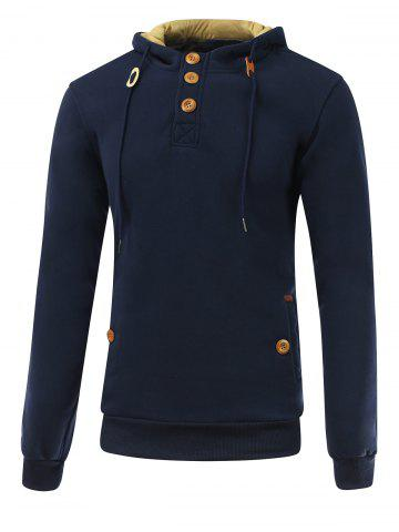 Elbow Patch Long Sleeve Drawstring Pullover Hoodie - Deep Blue - Xl