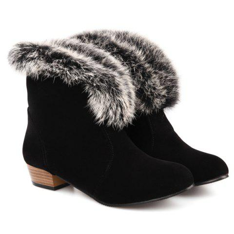 Hot Low Heel Faux Fur Suede Ankle Boots