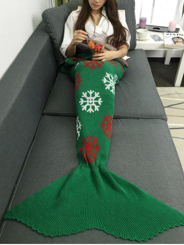 Christmas Snows Design Knitted Mermaid Tail Blanket - GREEN