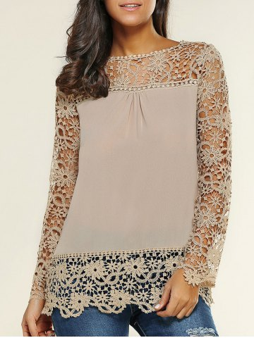 Best Lace Spliced Floral Crochet Openwork Blouse