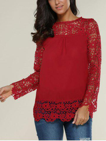 Buy Lace Spliced Floral Crochet Openwork Blouse