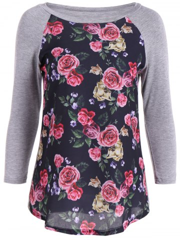 Best 3D Floral Splicing Raglan Sleeve T-Shirt