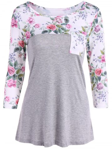 Discount One Pocket Floral Splicing T-Shirt