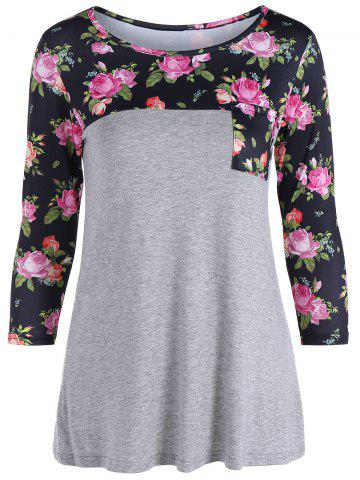 Chic One Pocket 3D Floral Splicing T-Shirt GRAY S