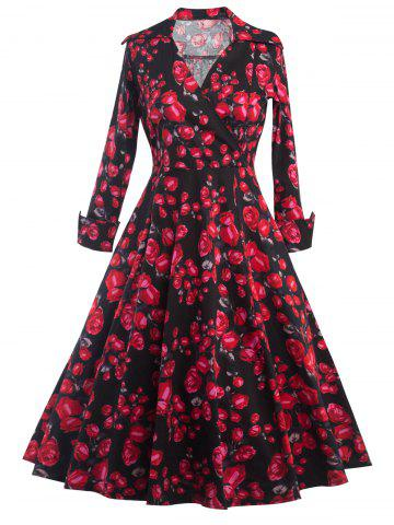 Outfits Long Sleeves Floral Print Surplice Dress BLACK 2XL
