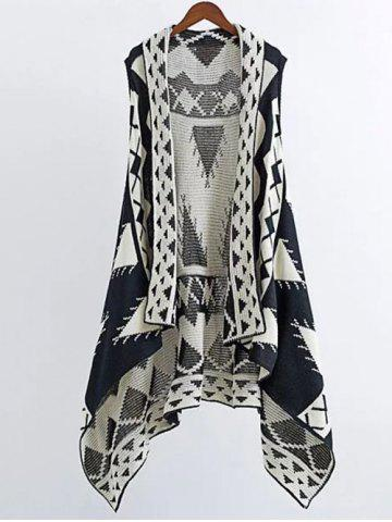 Latest Knitting Geometric Print Cape Waistcoat