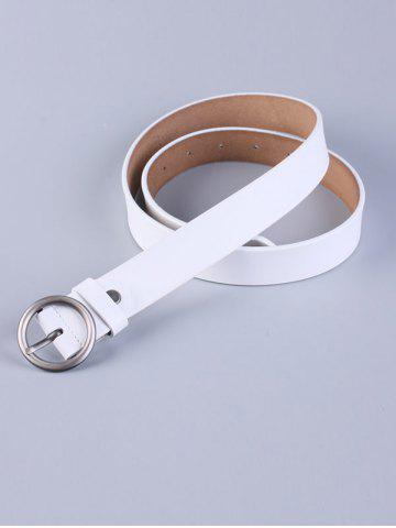 Unique All Match Round Pin Buckle Faux Leather Belt - WHITE  Mobile