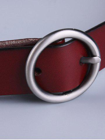 Discount All Match Round Pin Buckle Faux Leather Belt - WINE RED  Mobile
