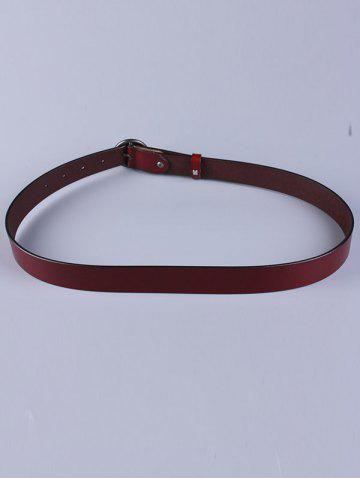 Chic All Match Round Pin Buckle Faux Leather Belt - WINE RED  Mobile