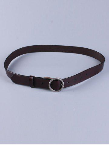 Unique All Match Round Pin Buckle Faux Leather Belt - DARK COFFEE  Mobile