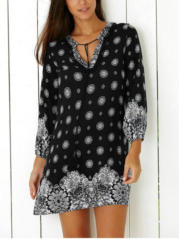 Outfits Tribal Print Casual Going Out Shift Dress BLACK 2XL