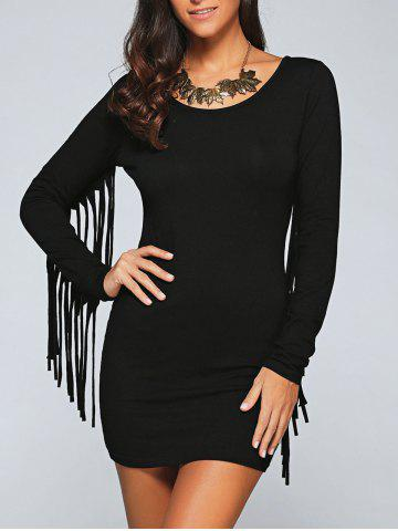 Unique Scoop Neck Fringed Sleeve Bodycon Dress BLACK 2XL