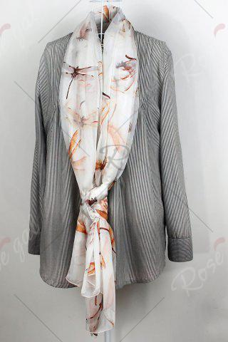 Latest Casual Dragonfly Print Chiffon Scarf - S OFF-WHITE Mobile