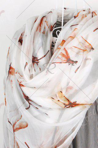 Affordable Casual Dragonfly Print Chiffon Scarf - S OFF-WHITE Mobile