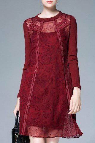 Unique See-Through Long Sleeve Shift Dress with Slip Dress CLARET M