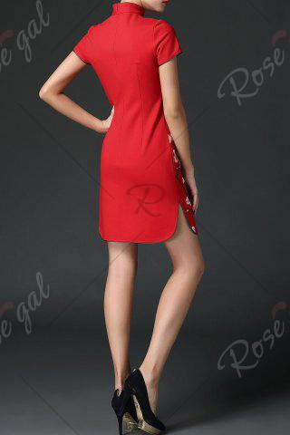 Unique Wedding Dress Mini Embroidered Cheongsam - XL RED Mobile