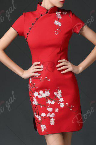 Best Wedding Dress Mini Embroidered Cheongsam - XL RED Mobile