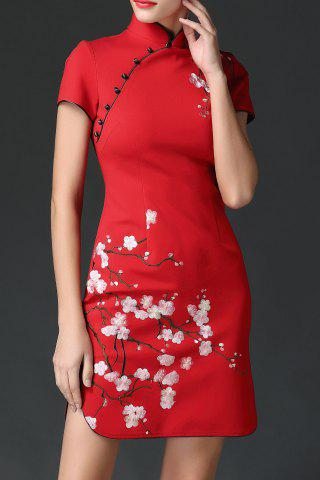 Buy Wedding Dress Mini Embroidered Cheongsam RED XL