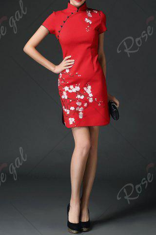 Affordable Wedding Dress Mini Embroidered Cheongsam - XL RED Mobile