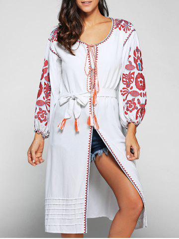 Outfits Round Neck Embroidered Lantern Sleeve Dress