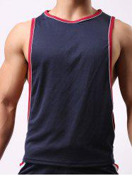 Round Neck Edging Design Sports Tank Top - CADETBLUE