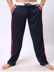 Lace-Up Color Block Edging Splicing Straight Leg Sports Pants - CADETBLUE