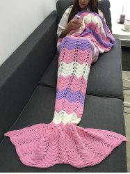 Keep Warm Openwork Color Block Knitting Mermaid Blanket