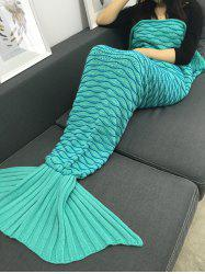 Super Soft Knitting Wave Stripe Mermaid Tail Design Blanket - LIGHT GREEN
