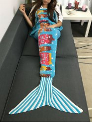 Super Soft Knitting Cartoon Building Pattern Mermaid Blanket