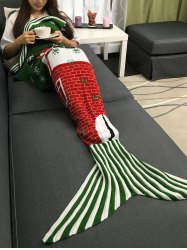 Santa Claus and Snows Design Knitted Christmas Mermaid Tail Blanket