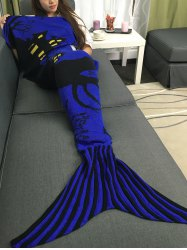 Super Soft Acrylic Knitted Halloween Mermaid Tail Blanket - BLUISH VIOLET