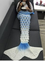 Creative Openwork Design Ombre Color Knitted Mermaid Blanket