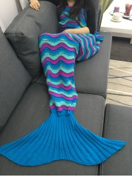 Color Block Crochet Knitting Mermaid Tail design Blanket - Multicolore