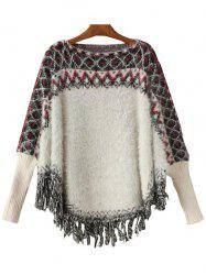 Cape Fringed Geometric Print Sweater - WHITE ONE SIZE