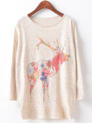 Loose Fawn Print Cute Sweater