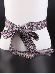 Geometry Embroidery Weaving Tassel Knotted Belt -