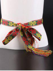 Aztec Embroidery Weaving Tassel Canvas Belt -
