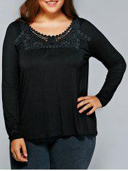 Plus Size Lace Patchwork Comfy Blouse