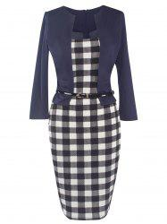 Checked Long Sleeve Sheath Midi Work Dress