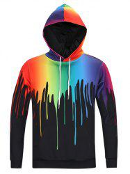 New Look Paint Splash Print Long Sleeve Hoodie For Men - BLACK
