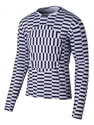 Round Neck Long Sleeve Geometric Print T-Shirt