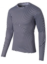 Long Sleeve Round Neck Swirl Print T-Shirt - BLACK