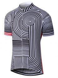 Striped Raglan Sleeve Zip Up Cycling Top -