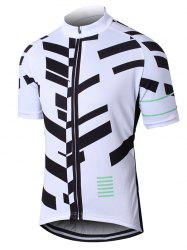 Imprimé géométrique manches raglan Zip Up Perforated Cycling Top - Blanc