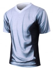 V-Neck Short Sleeve Ombre T-Shirt