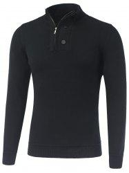 Stand Collar Ribbed Half-Zip Sweater -