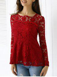 Elegant Applique Solid Color Top For Women - WINE RED