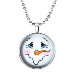 Smile Snowman Pattern Pendant Christmas Necklace - SILVER