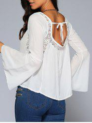 Bell Sleeve Lace Insert Open Back Blouse
