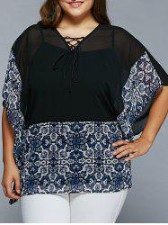 Plus Size Lace-Up Batwing Sleeve Blouse -